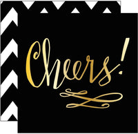 """Cheers"" Black & Gold cocktail napkins: 20 Count"