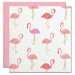 Pastel Pink FOIL FLAMINGOS COCKTAIL NAPKINS: 20 count