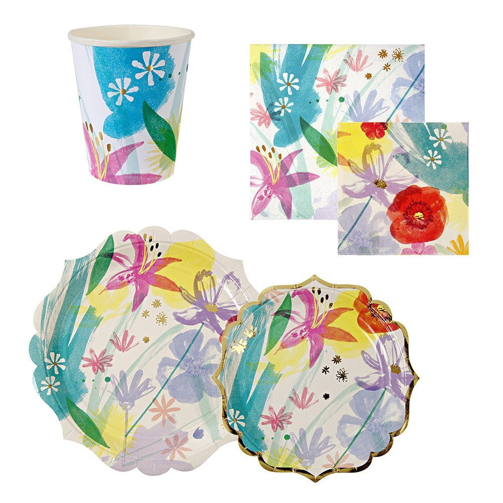 Toot Sweet Painted Flowers Party Set for 16