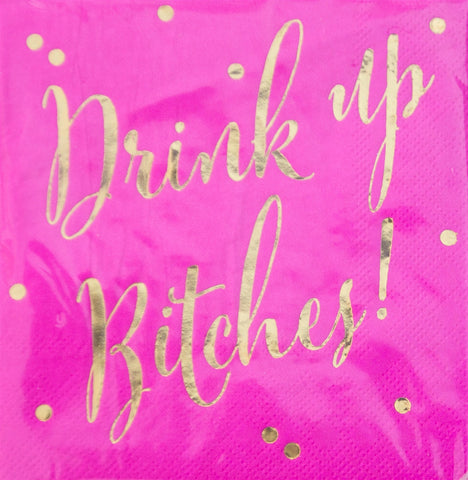 Hot Pink & Gold Drink Up Bitches Beverage Napkins: 20 Count