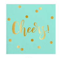 """Cheers"" Mint & Gold cocktail napkins: 20 Count"