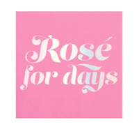 """Rose For Days"" Pink & Metallic silver cocktail napkins: 20 Count"