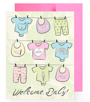 """Welcome Baby"" Girl Greeting Card"