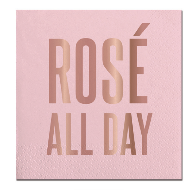 'Rose All Day' Pastel pink & rosegold cocktail napkins: 20 Count