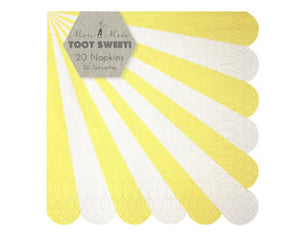 Meri Meri Toot Sweet Yellow Stripe Small Napkin