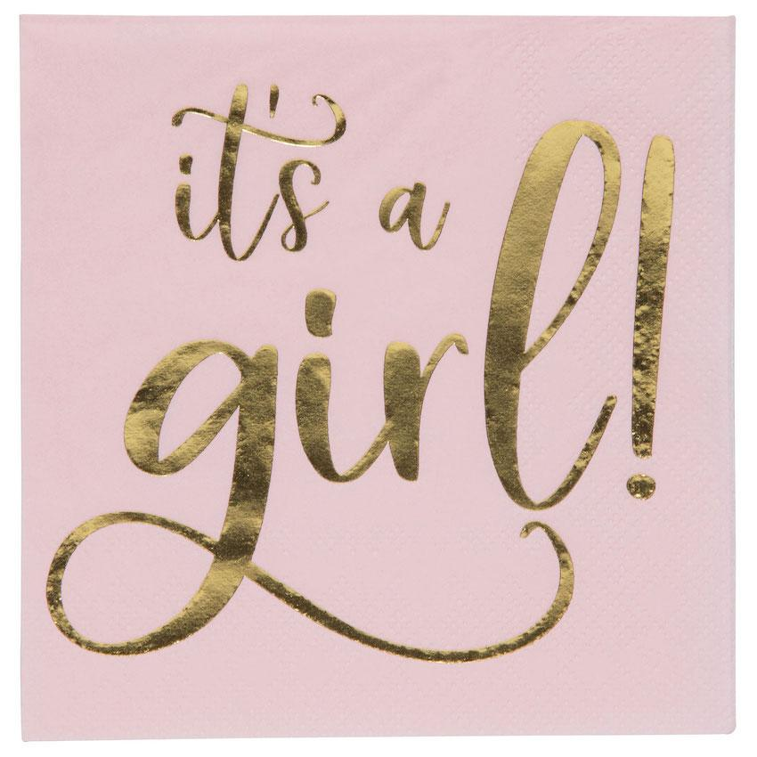 "Pastel Pink ""It's a Girl"" 20 count Napkins"