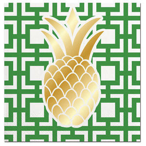 Green & White Pineapple Beverage Napkins