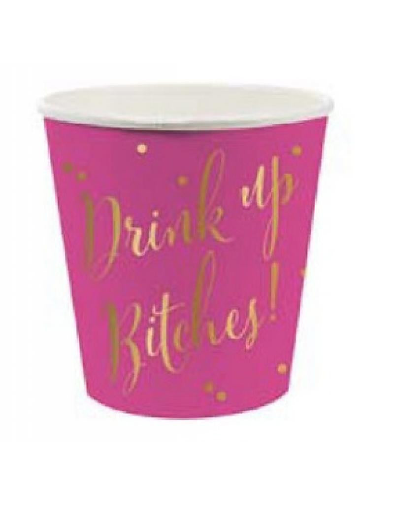 4oz Paper Pink & Gold Shot Cups 10ct  with Drink Up Bitches