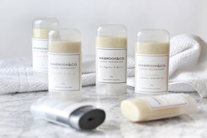 Natural deodorant by Mabrook & Co. Aluminum free, cruelty free, 100% natural and effective deododrant