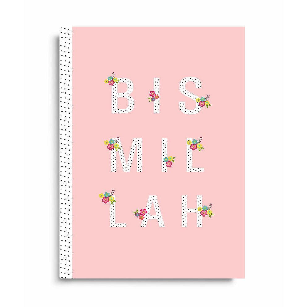 Lined Notebook - Blush Bismillah Design