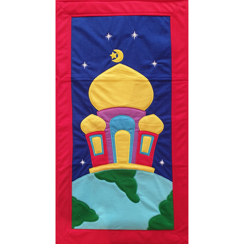 Handmade Prayer Mat - Red Border : Planet