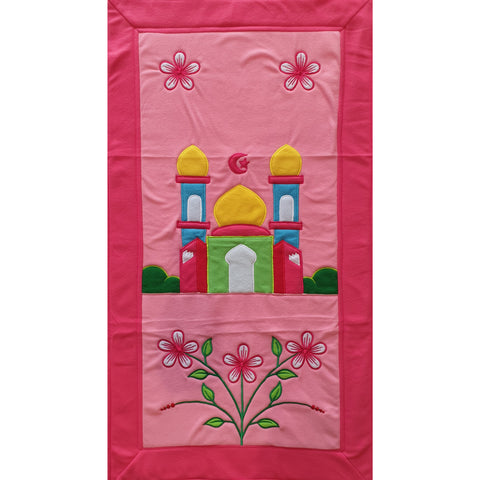 Handmade Prayer Mat - Pink Border : White Flowers