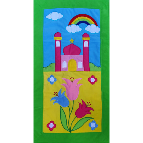 Handmade Prayer Mat - Green Border : Rainbow