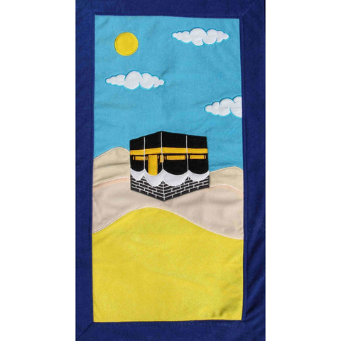 Handmade Prayer Mat - Blue Border : Kaabah (LARGE)