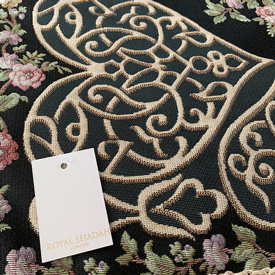 Royal Sejadah - Luxury Prayer Mat & Tasbih - Black Floral Design