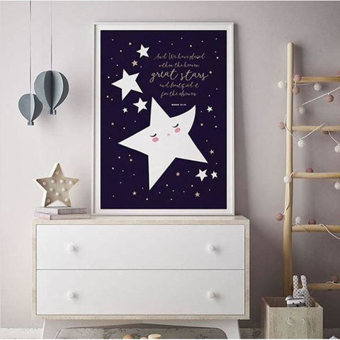 Islamic Room Decor Print - Stars, with Quranic Quote
