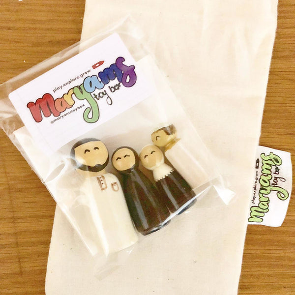 Muslim Hand-painted Wooden Peg Dolls Family