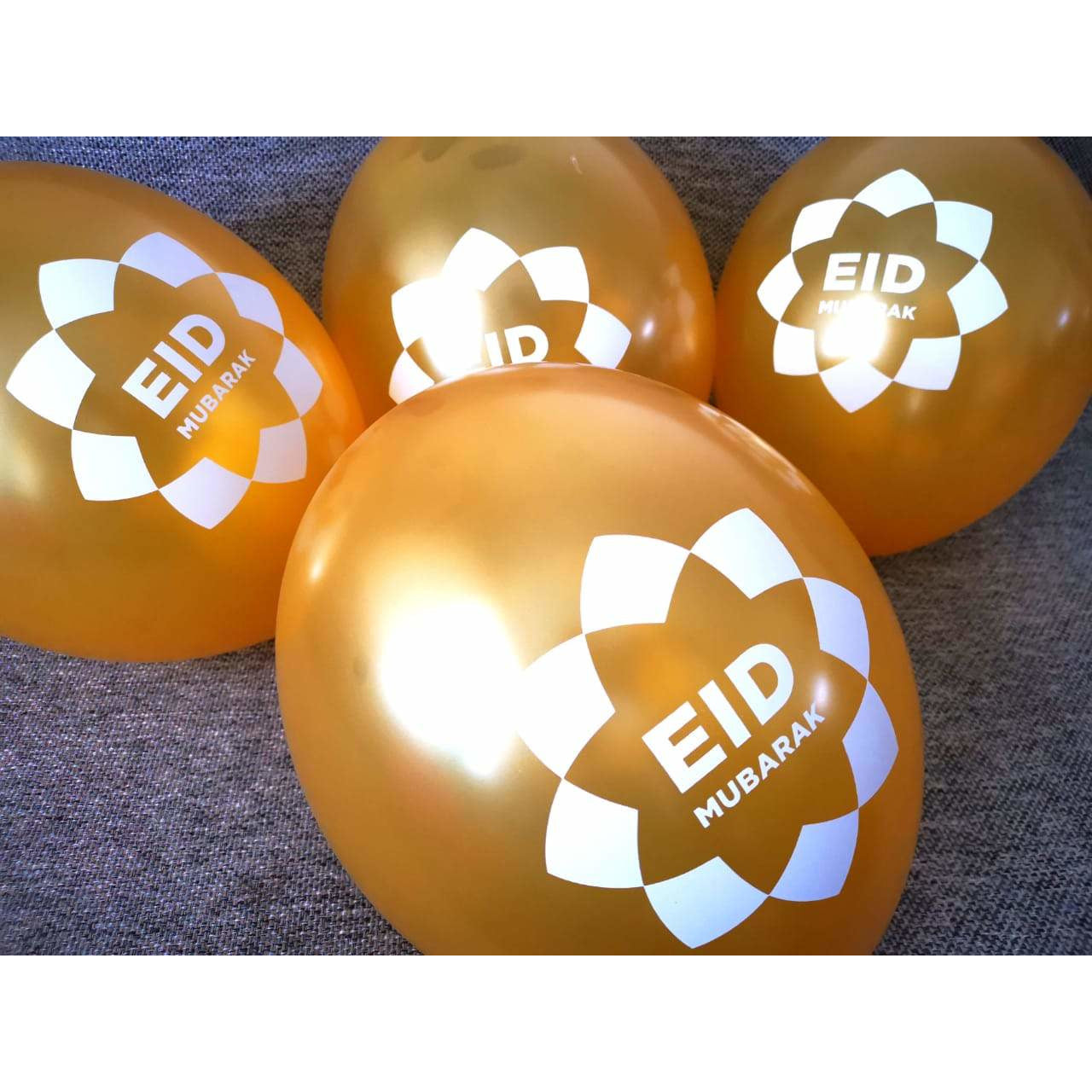 Gold Eid Mubarak Balloons (Pack of 10)
