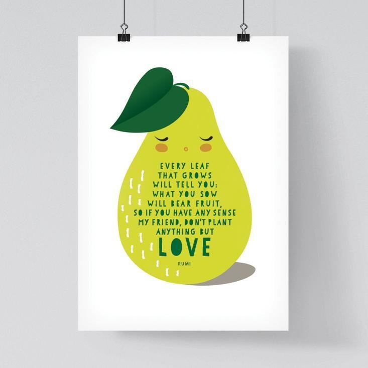 Islamic Room Decor Print - Inspirational Rumi Love Pear Print