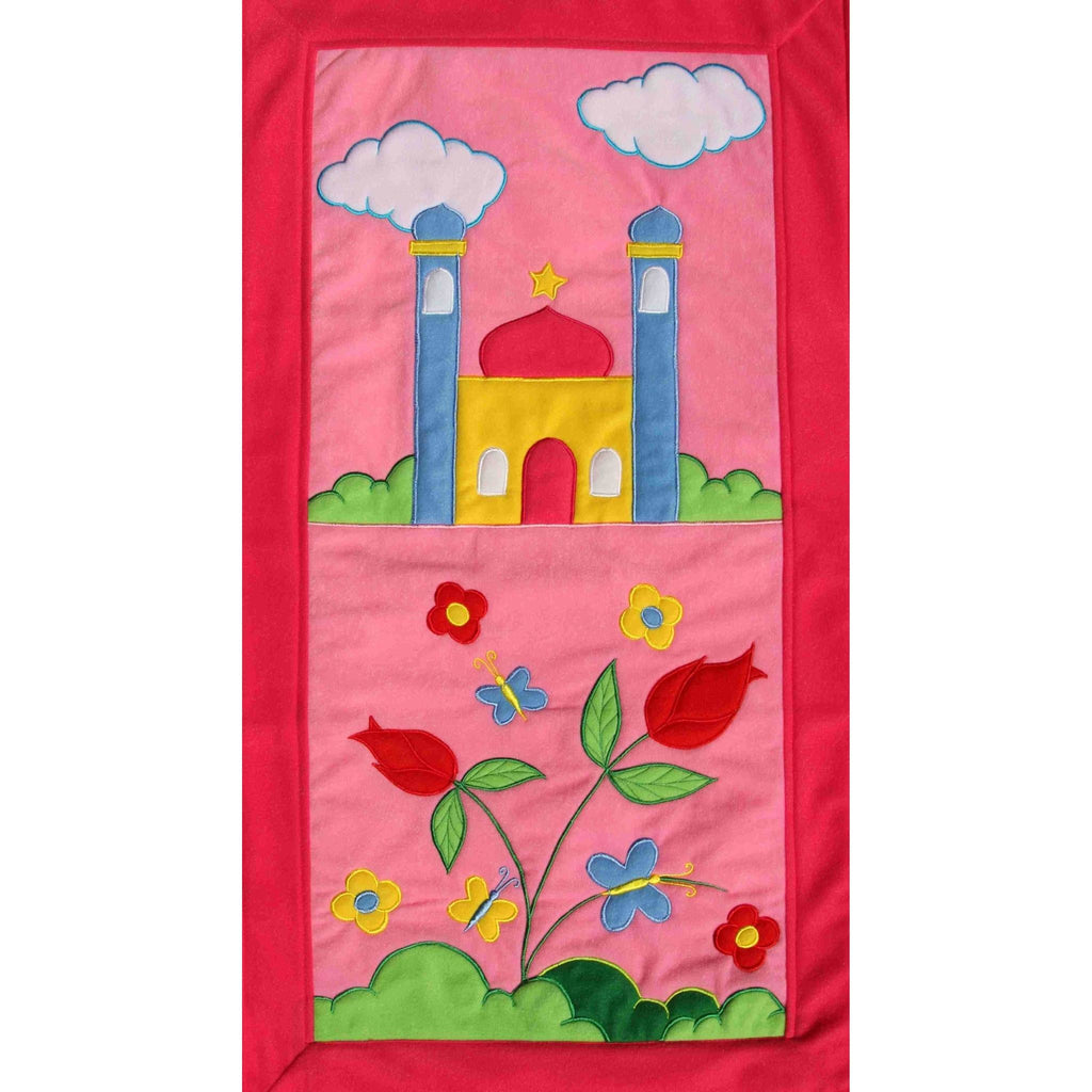 Handmade Prayer Mat - Pink Border : Flowers (LARGE)