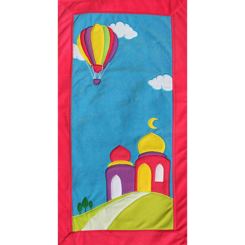 Handmade Prayer Mat - Pink Border : Hot Air Balloon