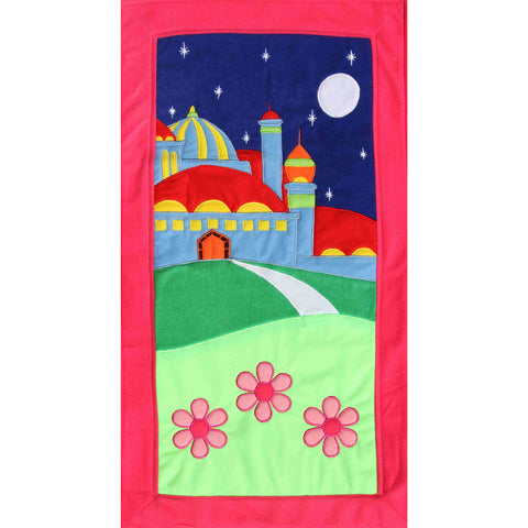 Handmade Prayer Mat - Pink Border : Night Sky (STANDARD SIZE)