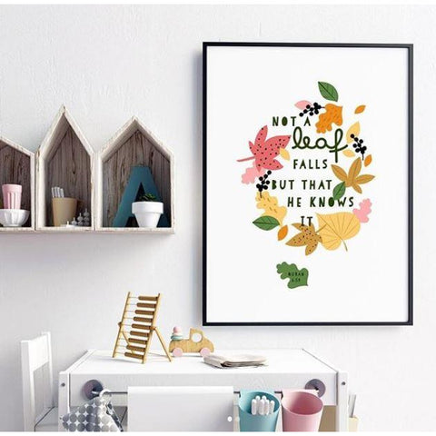 Islamic Room Decor Print - Falling Leaves Print