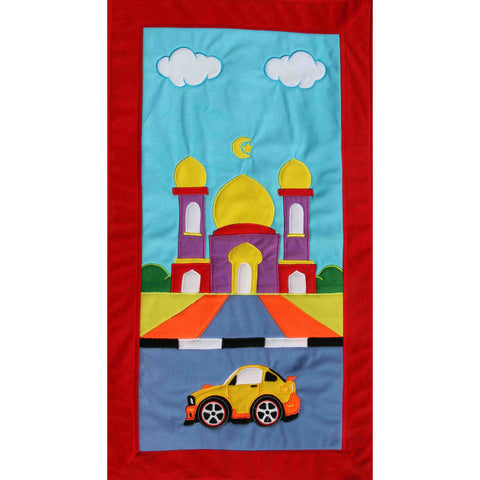 Handmade Prayer Mat - Red Border : Car