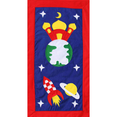 Handmade Prayer Mat - Red Border : Rocket (LARGE)