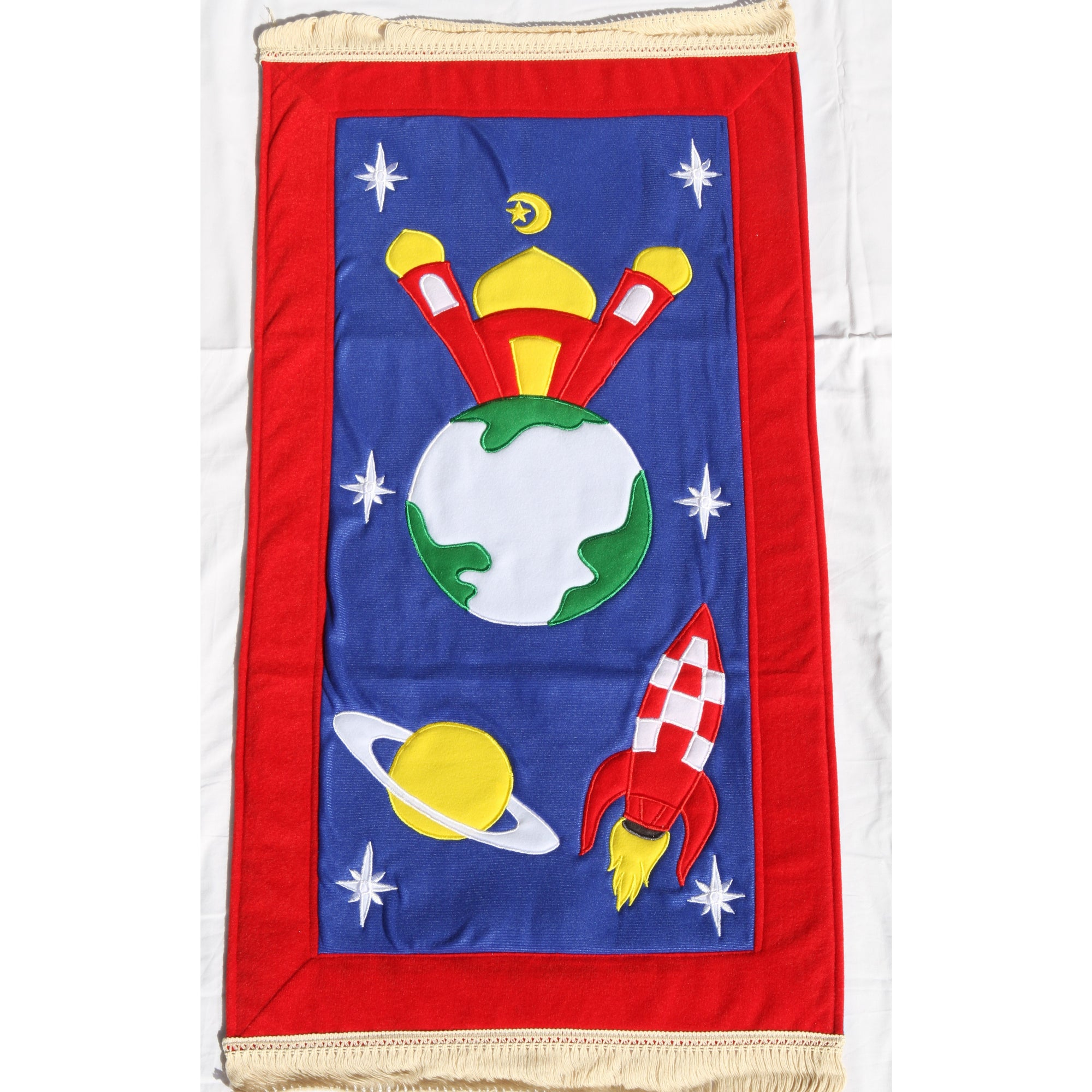 Handmade Kids Prayer Mat - Red Border : Rocket