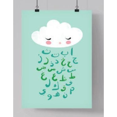 Islamic Room Decor Print - Arabic Alphabet Cloud (Mint)