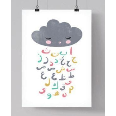 Islamic Room Decor Print - Arabic Alphabet Cloud (Pastel)
