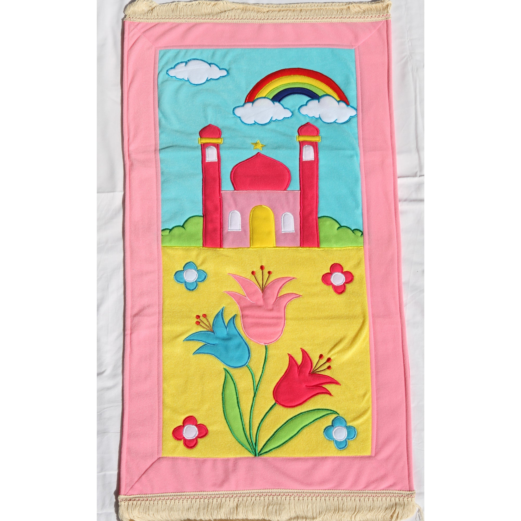 Handmade Kids Prayer Mat - Light Pink Border : Rainbow