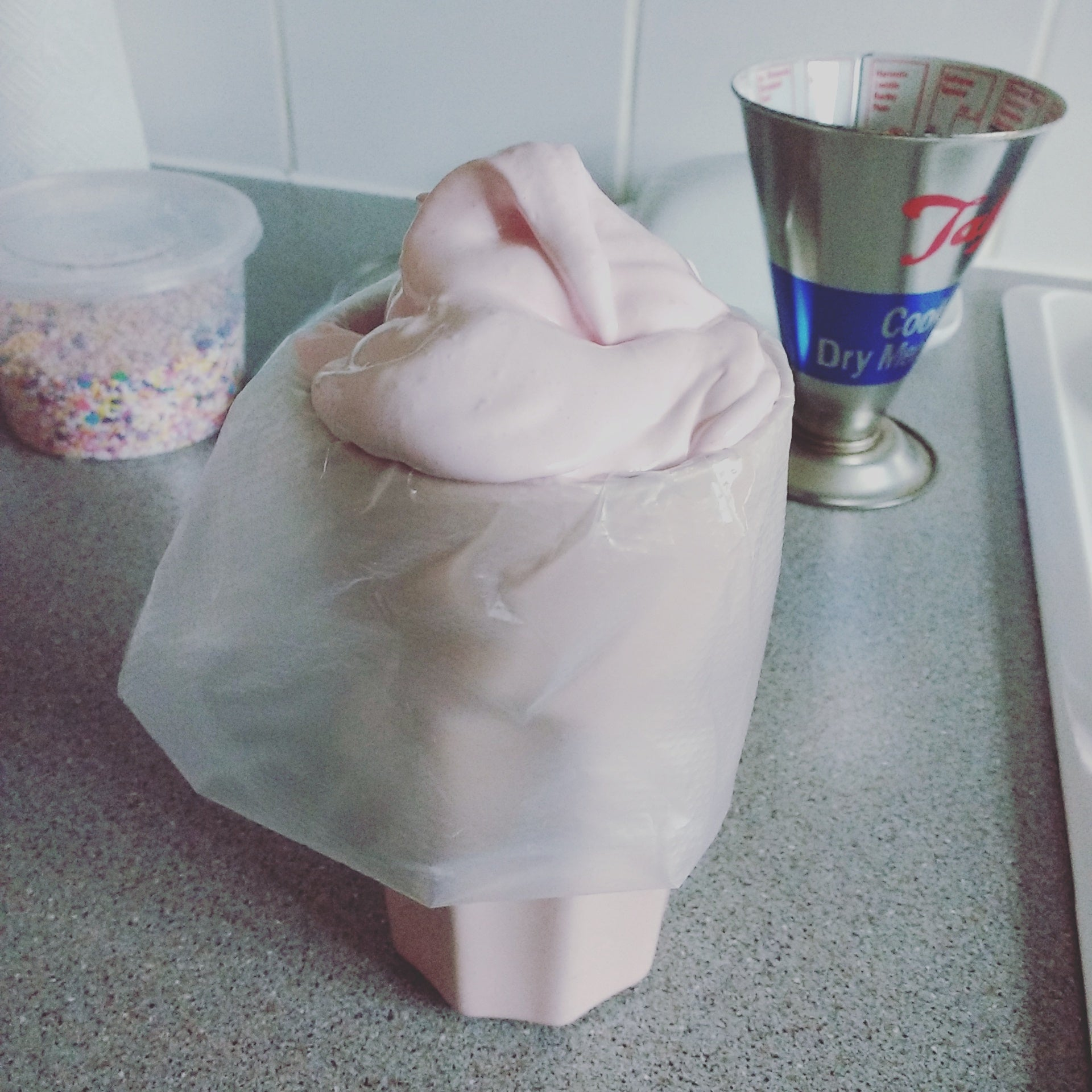 Pour marshmallow into piping bag