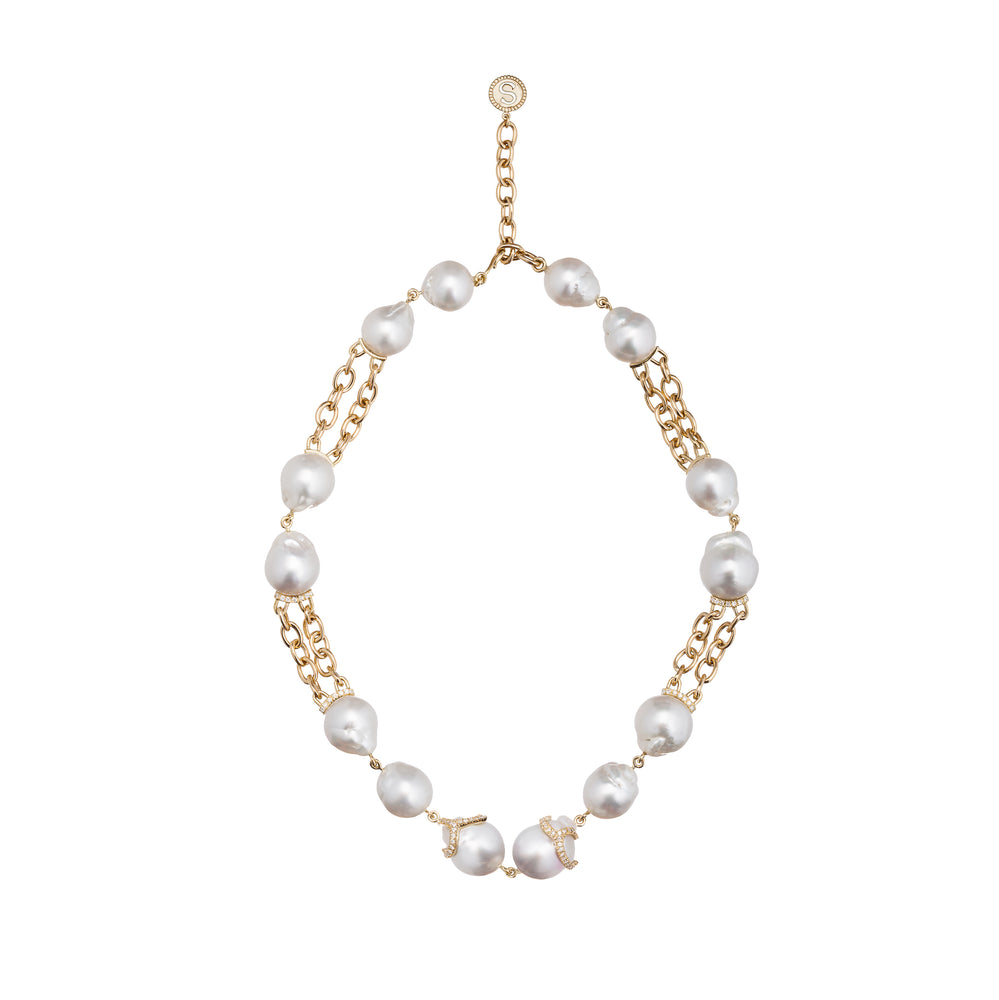 18k Yellow Gold Necklace with  South Sea Pearls and Diamonds