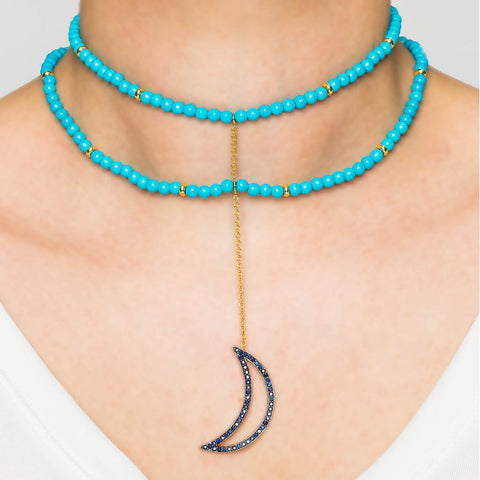 925 Silver Moon Choker with Turquoise and Sapphires