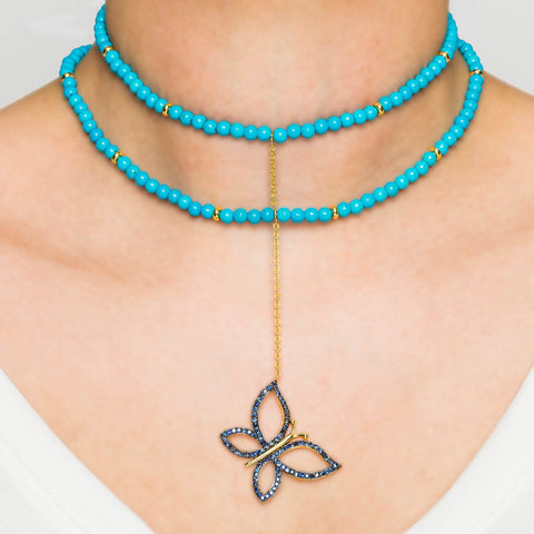 925 Silver Butterfly Choker with Turquoise and Sapphires