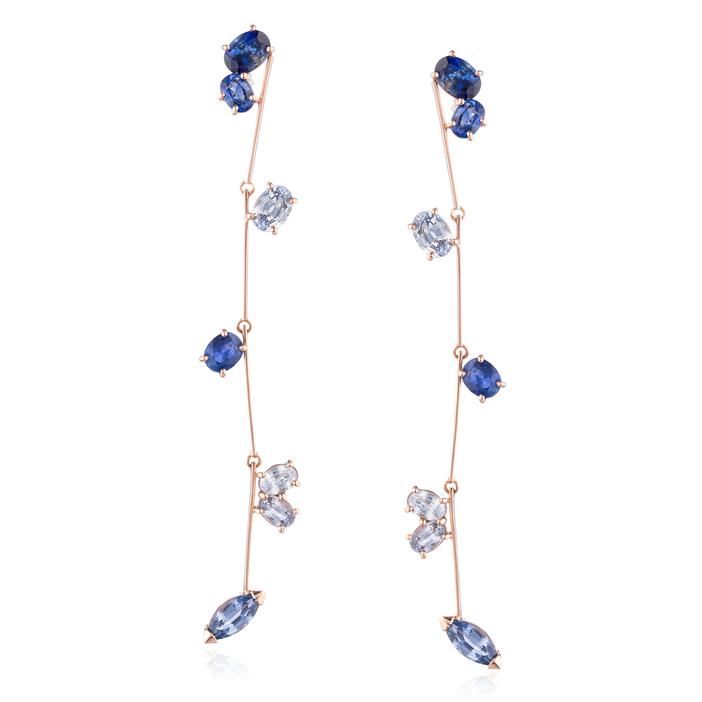 14K Rose Gold Earrings with Blue Sapphires