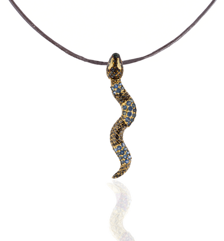 925 Silver Snake Pendant with Blue Sapphire Pavé