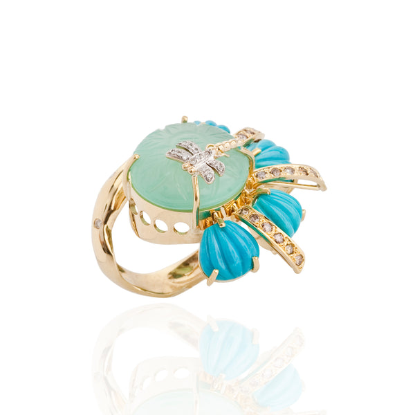 18K Gold Ring with Carved Turquoise Cabochon, Diamond & Peruvian Chalcedony