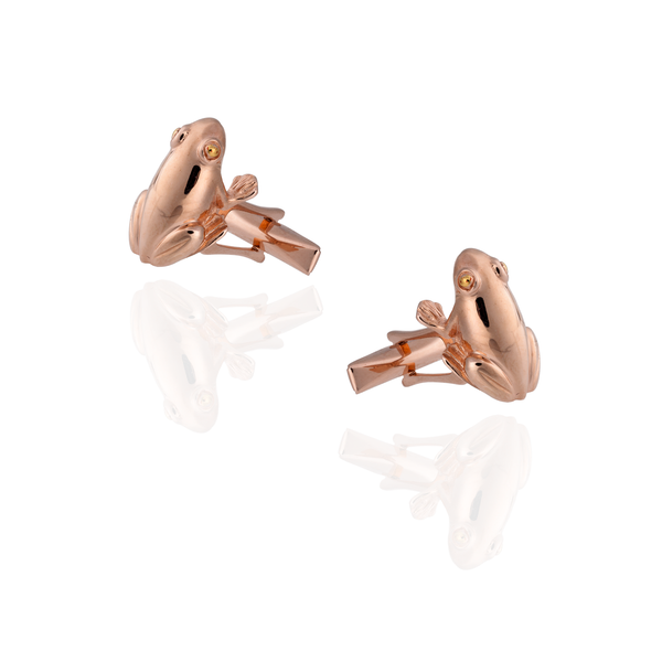 925 Silver Frog Cufflinks Plated in Rose Gold