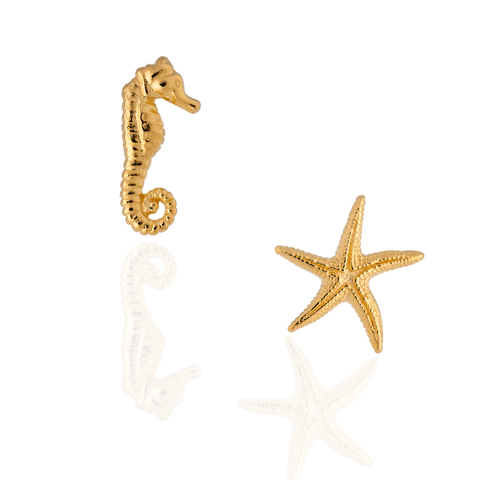 925 Silver Starfish & Seahorse Cufflinks Plated in Yellow Gold
