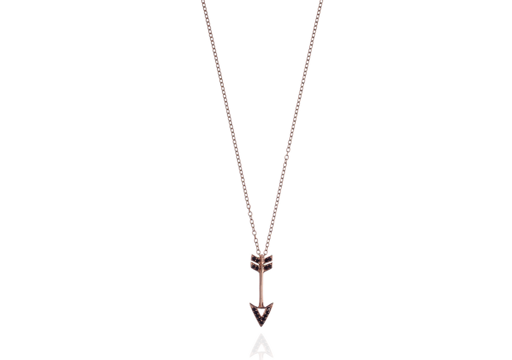 14K Rose Gold Chain & Arrow Pendant with Black Sapphires