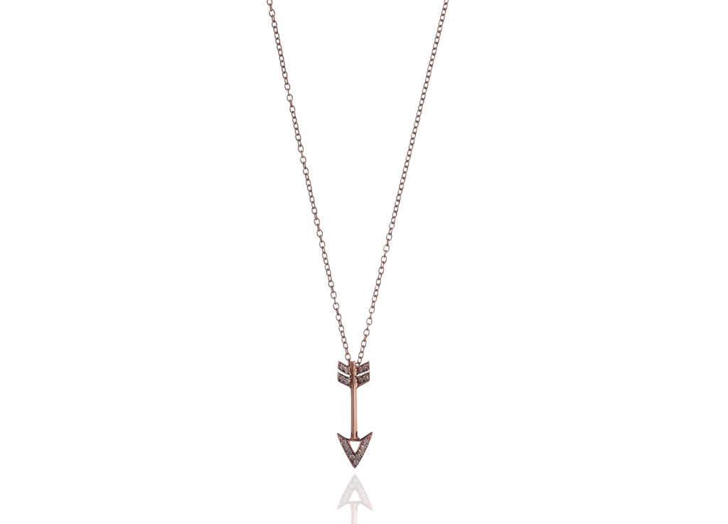 14K Rose Gold Chain & Arrow with White Diamonds