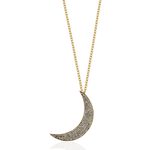 925 Silver Large Moon Necklace with Sapphires