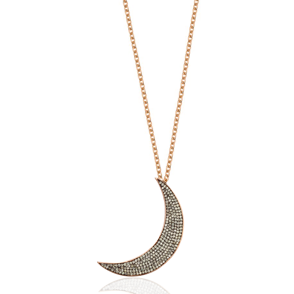 925 Silver Large Moon Necklace with Green Sapphires