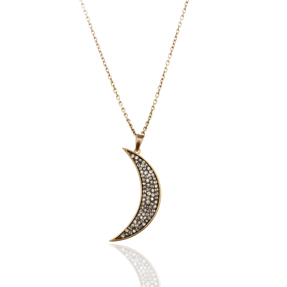 925 Silver Medium Moon Necklace with Green Sapphires