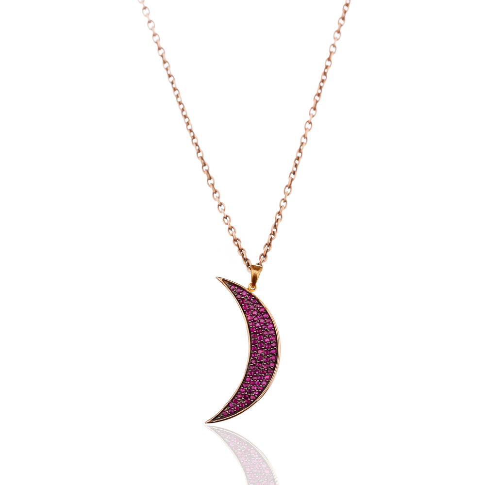 925 Silver Medium Moon Necklace with Rubies