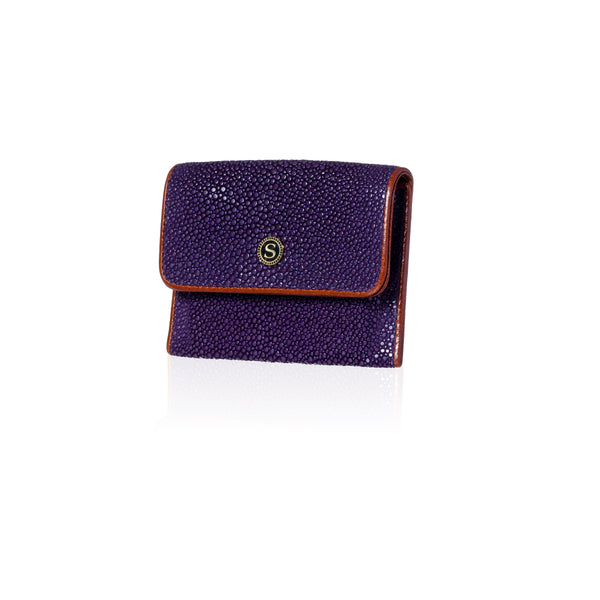 Purple and Brown Stingray Leather Credit Card Case