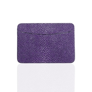Credit Card Pouch in Purple Stingray Leather